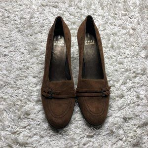 Stuart Weitzman Womens Shoes Brown Kitten Heels Suede Leather Size 9